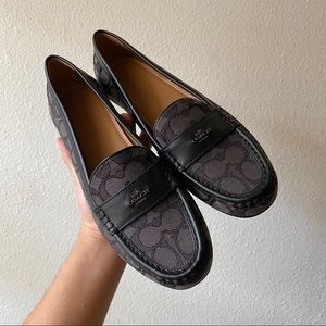 Coach Womens Odette Casual Loafers Black Leather